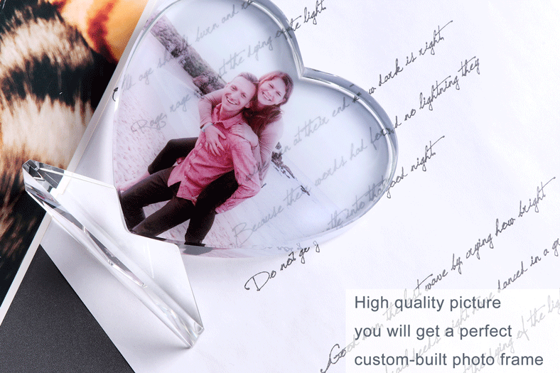 Custom Heart Shaped Engraving Crystal Photo Album