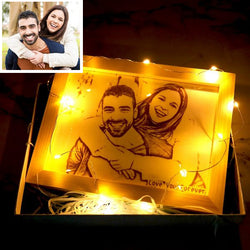 Personalized Woodcut Engraved Wood Photo Frame