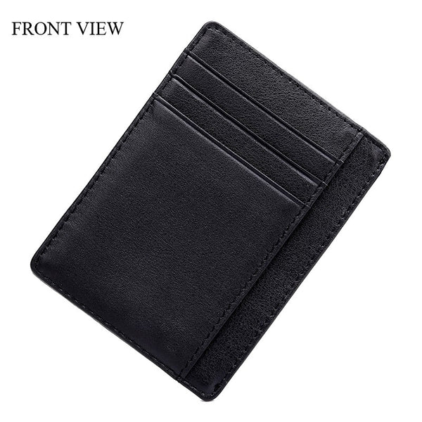Custom Engraved Leather Card Holder Unisex Black