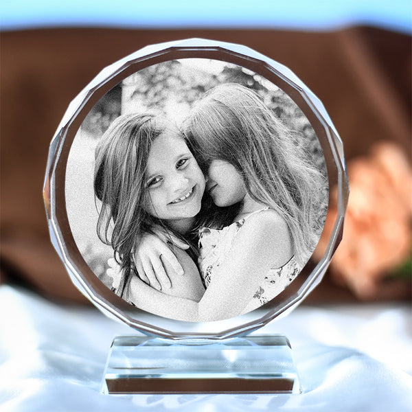 Customized Crystal Photo Album Round Shape Laser Engrave