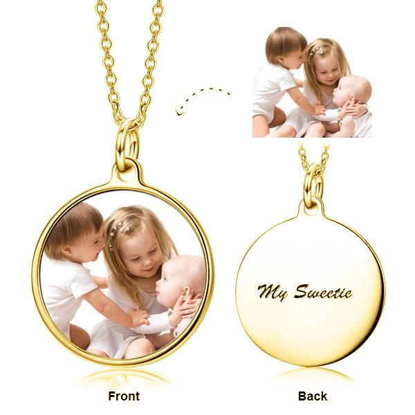 Custom Photo Text Necklace Personalized Jewelry 925 Sterling Silver White - I Cherish And Adore You