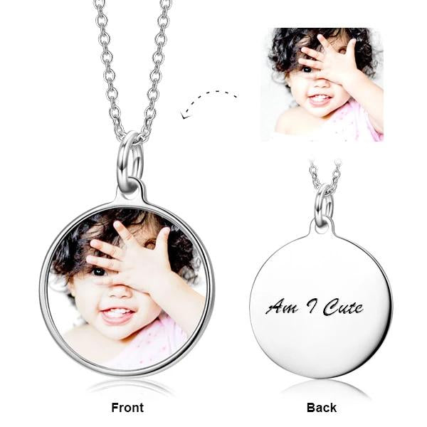 925 Sterling Silver Children's-Personalization Kids Color Photo Necklace