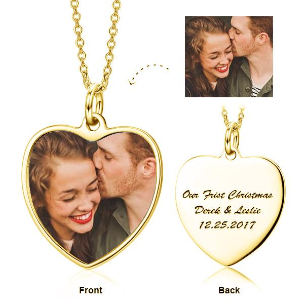 925 Sterling Silver Personalized Color Photo and Engraved in Love Heart Pendant Necklace