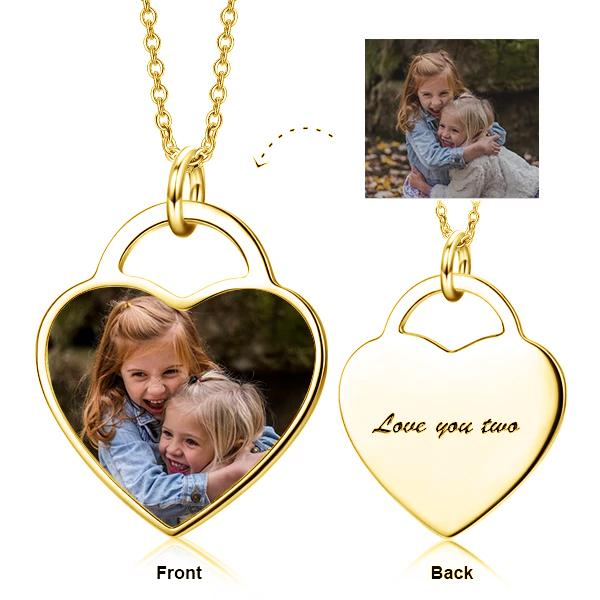 925 Sterling Silver Personalized Kids Color Photo Necklace
