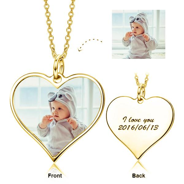 Personalized Engraved Kids Color Photo&Text - 925 Sterling Silver