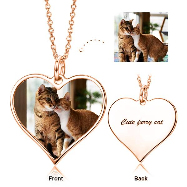 Personalized Sterling Silver Color Pet Photo Necklace