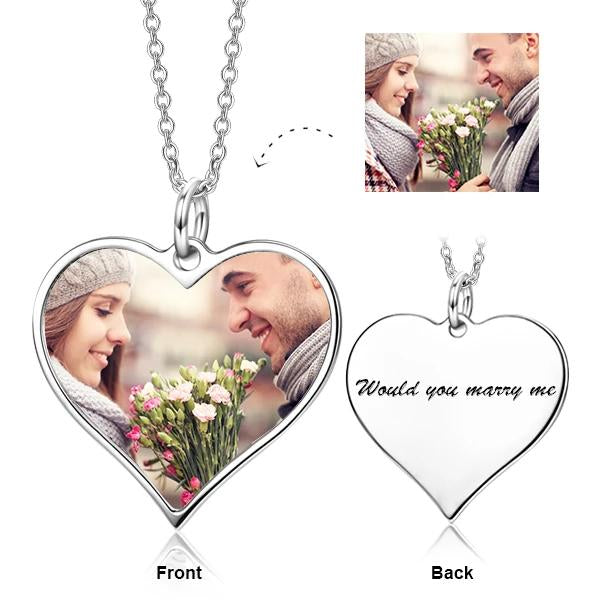 Customize Your Color Photo and Engraved Text in Love Heart Pendant Necklace