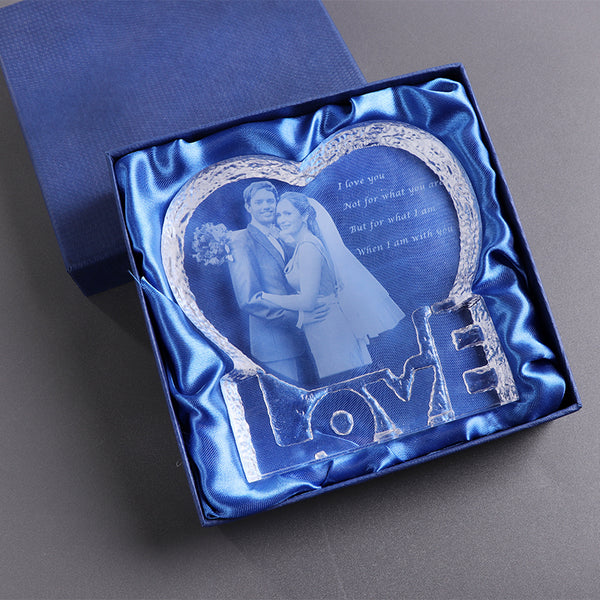 Personalized Crystal Love Heart Laser Engraved Photo Frame