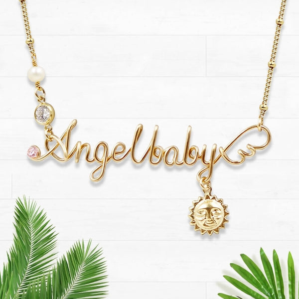 Personalized Wire Wrapped Name Necklace Angelbaby