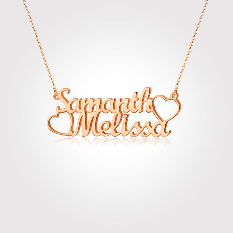 Two Names and Heart Pendant Name Necklace Gold Plated - customgiftsmall