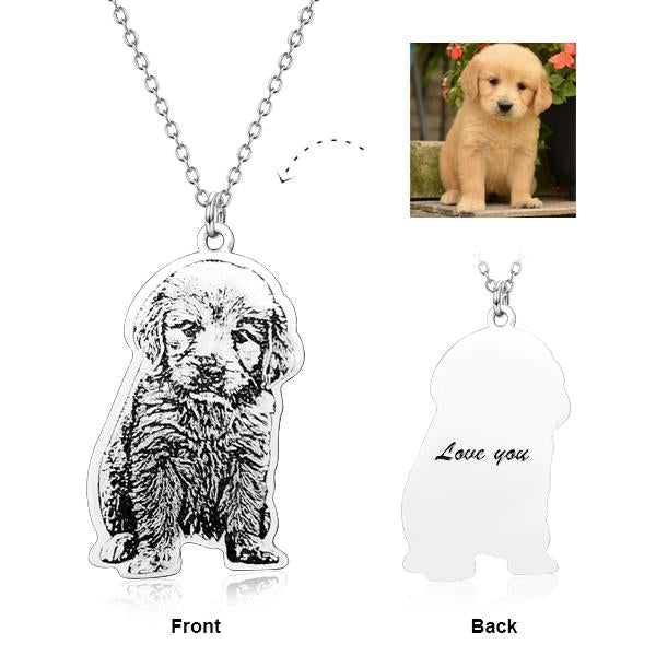 Personalized  Engraved Pets Photo Pendant Necklace in 925 Sterling Silver