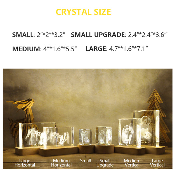 Custom Photo Crystal Night Light Personalized Gifts Keepsake - customgiftsmall