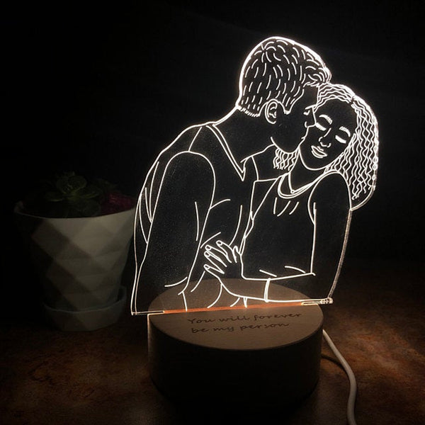 Personalised Photo LED Night Light Acrylic Sign Anniversary Keepsake - customgiftsmall