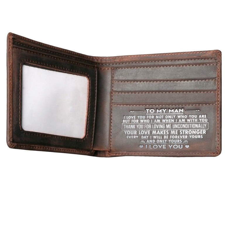 Leather Wallet Engraved Wishes Unique Gift for Men -  TO MY MAN