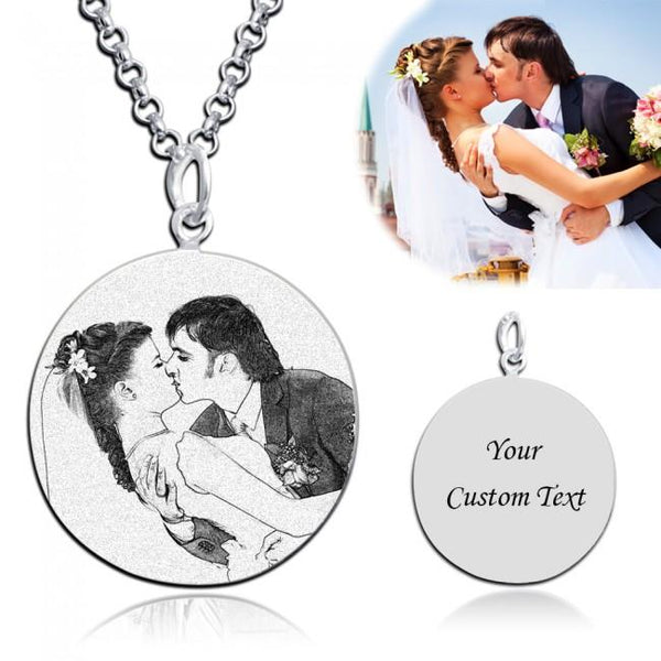Personalized Circle Engraved Photo Necklace For Couple
