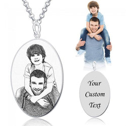 925 Sterling Silver  Personalized Oval Engraved Photo Necklace