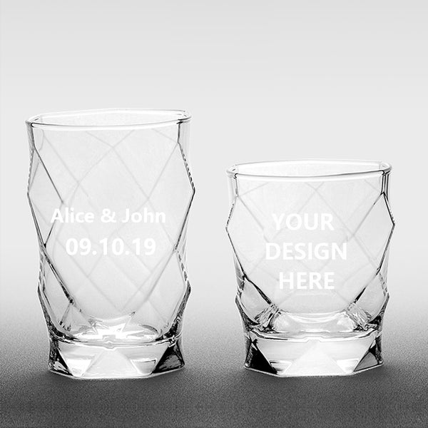 Custom Engraved Rhombic Glass Cups(Set of 6)
