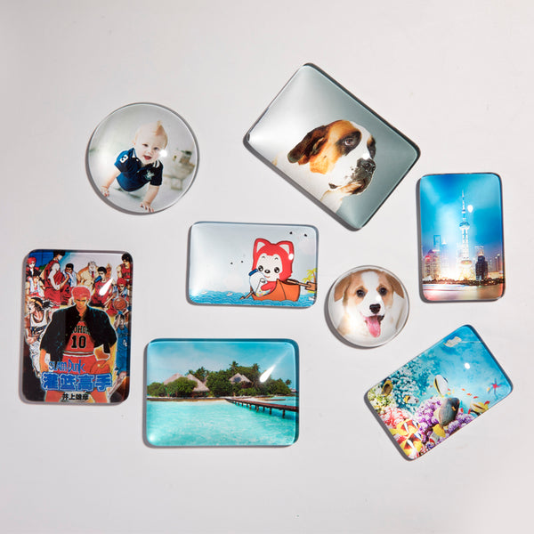 Personalized Photo Crystal Magnet Refrigerator Sticker(Set of 4)