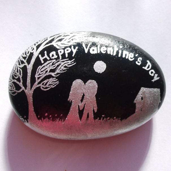 Hand Painted Rock Couple Love Gift for Valentines Day