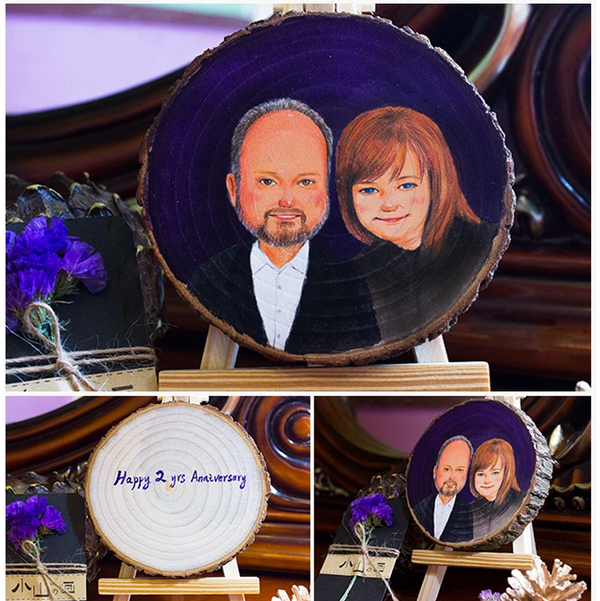 Personalized Photo Hand Painted On Wood Anniversary Gift