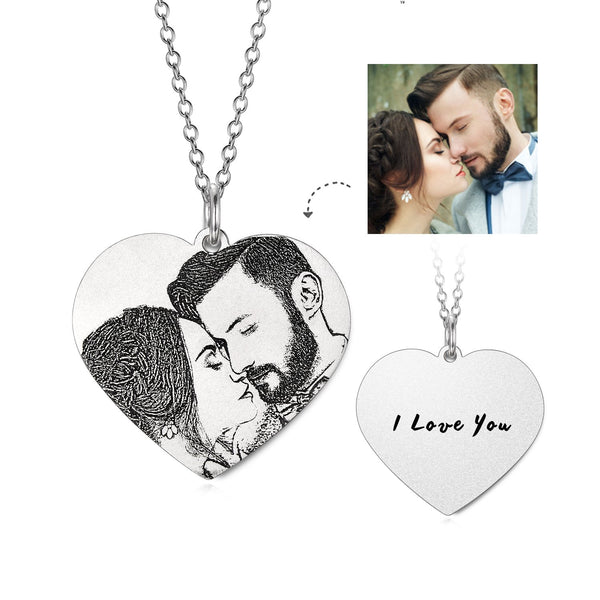 Forever Love-925 Sterling Silver Personalized Engraved Heart Photo Necklace
