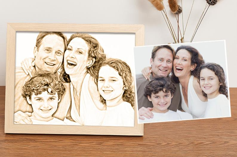 Personalised Woodcut Engraved Photo On Wood - customgiftsmall