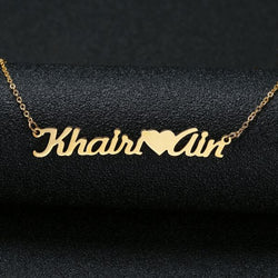 Couple Name Necklace Connected With Heart 24K Gold Plated - customgiftsmall