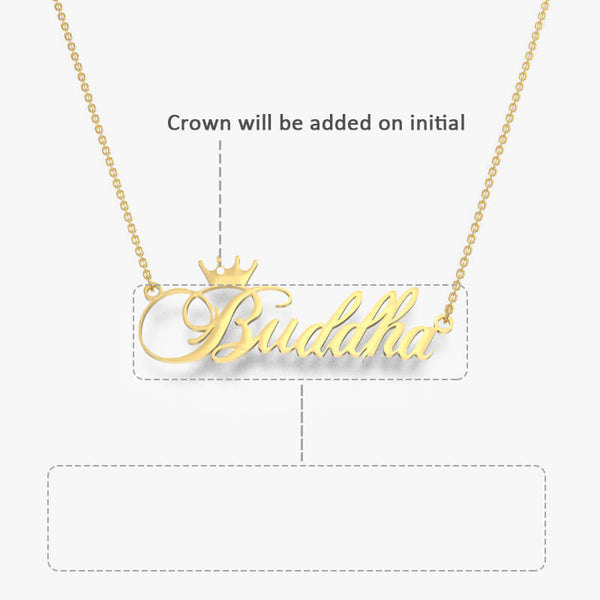 Name Necklace With Crown Gold Plated - customgiftsmall