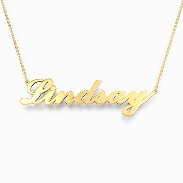 Personalized Classic Cursive Name Necklace 24k Gold Plated - customgiftsmall