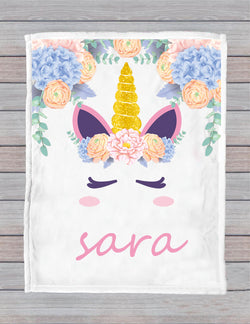 Personalized Unicorn Magic Blanket For Unicorn Lovers, Custom Name Micro Fleece Blanket, Child & Adult Blanket, Warm Girl Throw