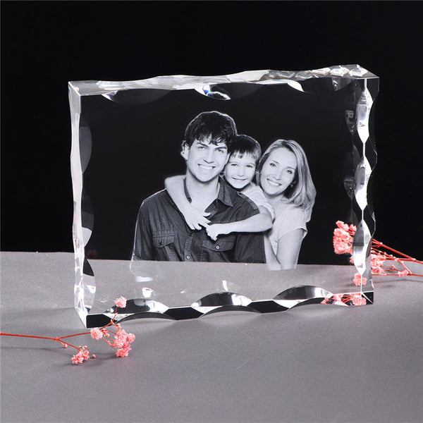 Custom Crystal Photo Frame Laser Engraved Photo Album Curled Frame