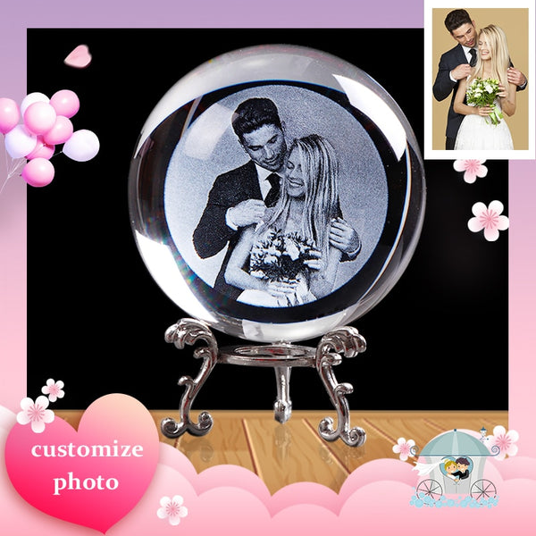 Custom Glass Photo Ball Crystal Sphere Laser Engraved Wedding Photo Frame
