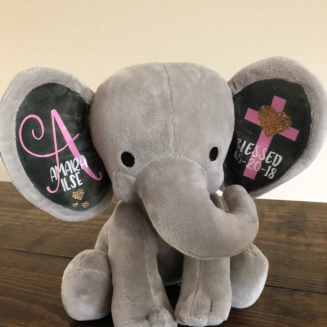 Personalized girl Baptism Baby Boy toy Keepsake Gift, Elephant Plush, Confirmation birth annoucement Christening Gifts