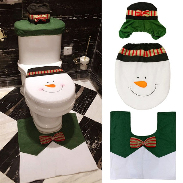 Bathroom decor Foot Pad Seat Cover Cap Christmas Decorations
