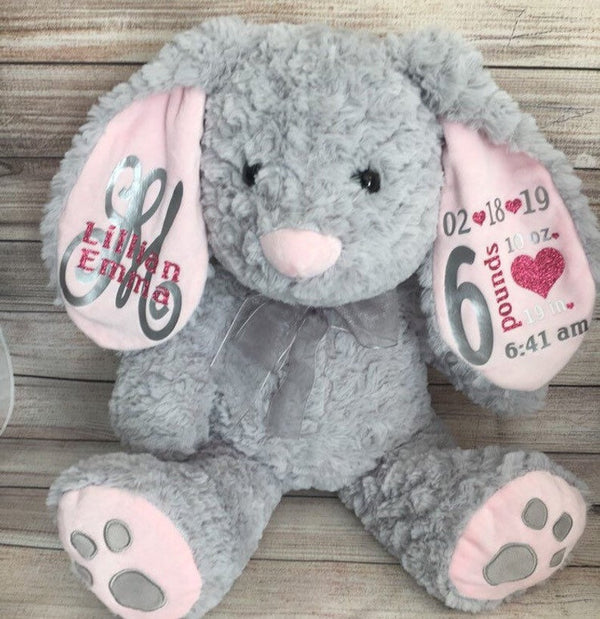 personalize Baby Girls Birth Stat Bunny, Birth Announcement Stuffed Animal, Monogrammed Bunny, Comfort Animal Newborn Gift