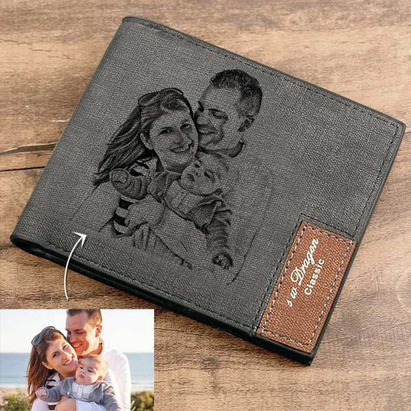 Men's Bifold Custom Inscription Photo Engraved Wallet