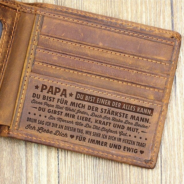 RFID Blocking Leather Wallet Engraved Wishes - TO DAD