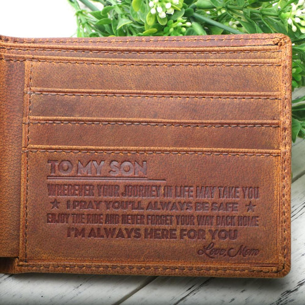 RFID Blocking Leather Wallet Engraved Wishes  - TO SON