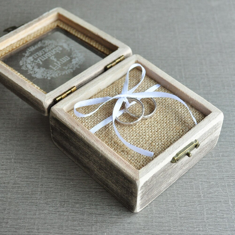Ring Box Ring Bearer Pillow, Personalized Wedding Ring Box Rustic Wedding Decor Wedding Gift
