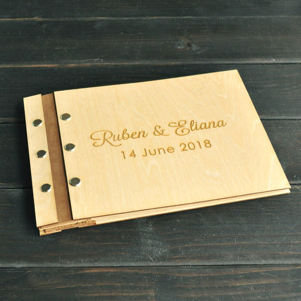 Rustic Wedding Guest book 50 Pages, Personalized Wood Signature Guestbook with Custom Names and Date, Rustic Wedding Gift