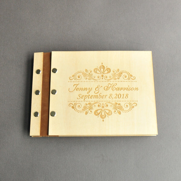 Wedding Guest book A4 Size with 50 Pages, Personalized Signature Guestbook Custom Wood Wedding Guest Book