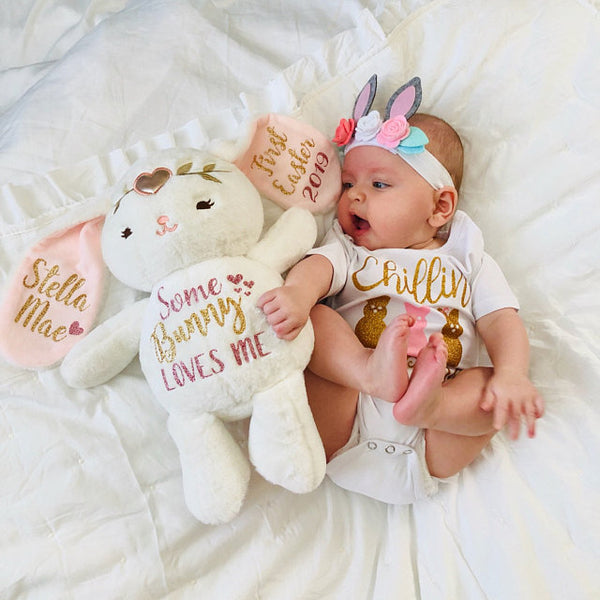 Customize Baby Girls Birth Stat Bunny, Personalized Plush, Birth Announcement Stuffed Animal, Monogrammed Bunny, Newborn Gift