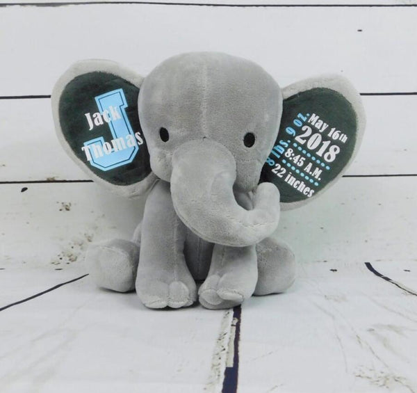 Custom Stuffed Animal Baby Boy Gift Baby Girl Gift Baby Birth Stats gift, personalise girl Monogram Elephant Newborn  Baby Gift