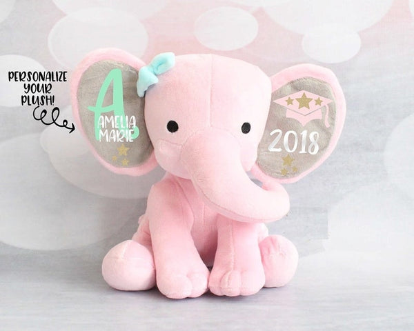 Personalized Elephant Plush, Girls Graduation Gift, Girls Keepsake Gift,  Grad Gift, Kindergarten Graduation, Preschool gifts