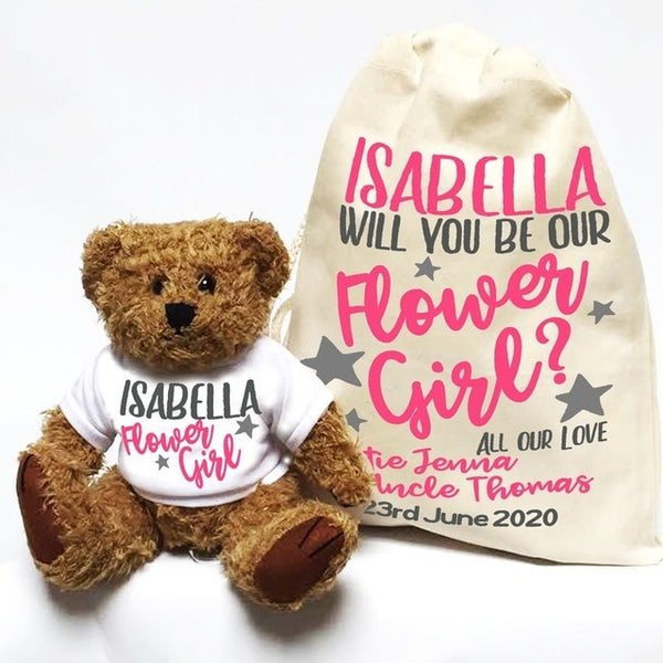 Personalise name text will you be my flower girl bridesmaid bear proposal gifts, page boy Ring Bearer Wedding day favour gift
