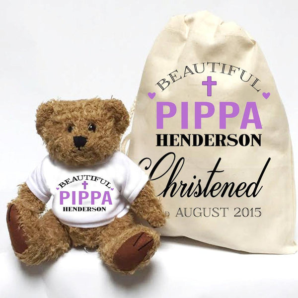 Customize name text baptism Christening bear toy gifts personalised birthday gift with bear and gift bag set