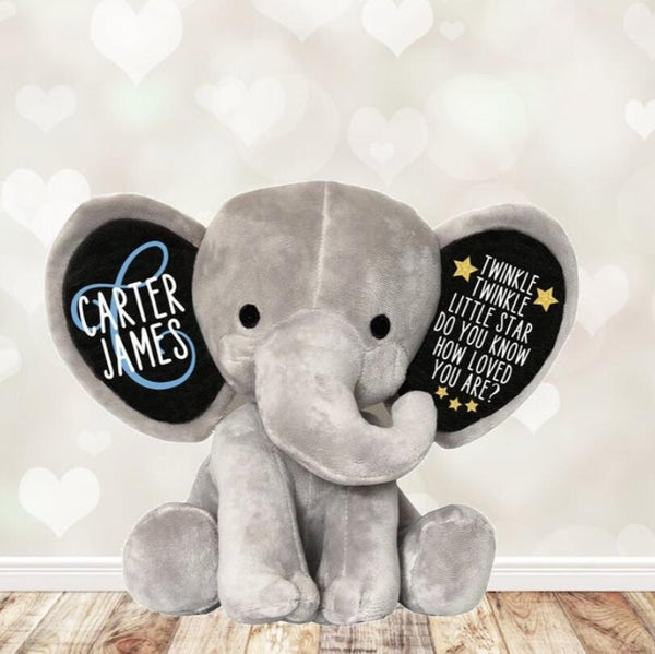 Personalized name Twinkle Little Star Do You Know How Loved You Are, Newborn Gift Keepsake Stuffed Elephant baby shower gift