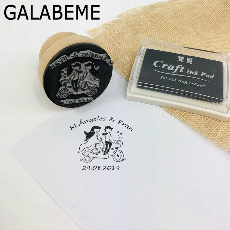 diameter 4.5cm Personalized Custom Name Date Wood Stamping Sealing Seal Stamp Invitation Engagement wedding decoration