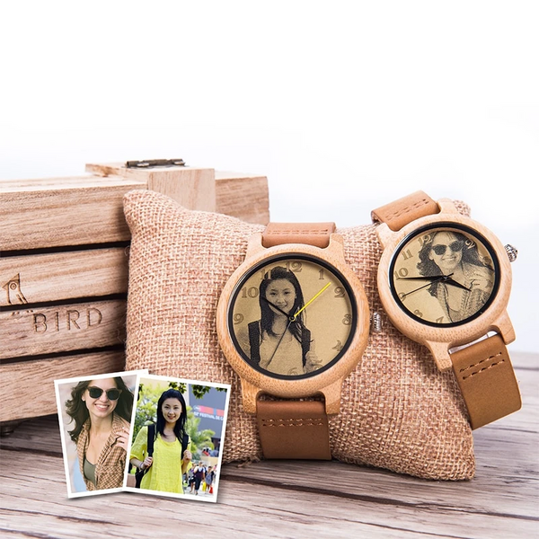 Laser Photo Wood Watch Genuine Leather Strap