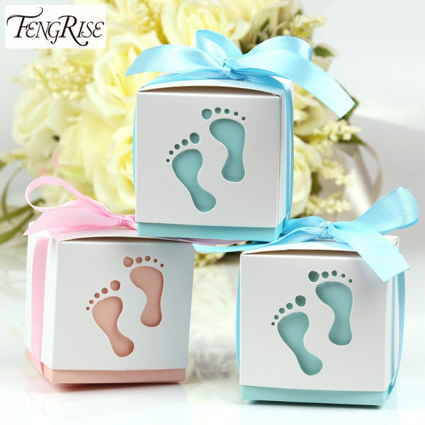FENGRISE 10pcs Baby Footprint Laser Cut Out Candy Box Baby Shower Favors Gift Paper Boxes Kids Birthday Party Supplies Pink Blue